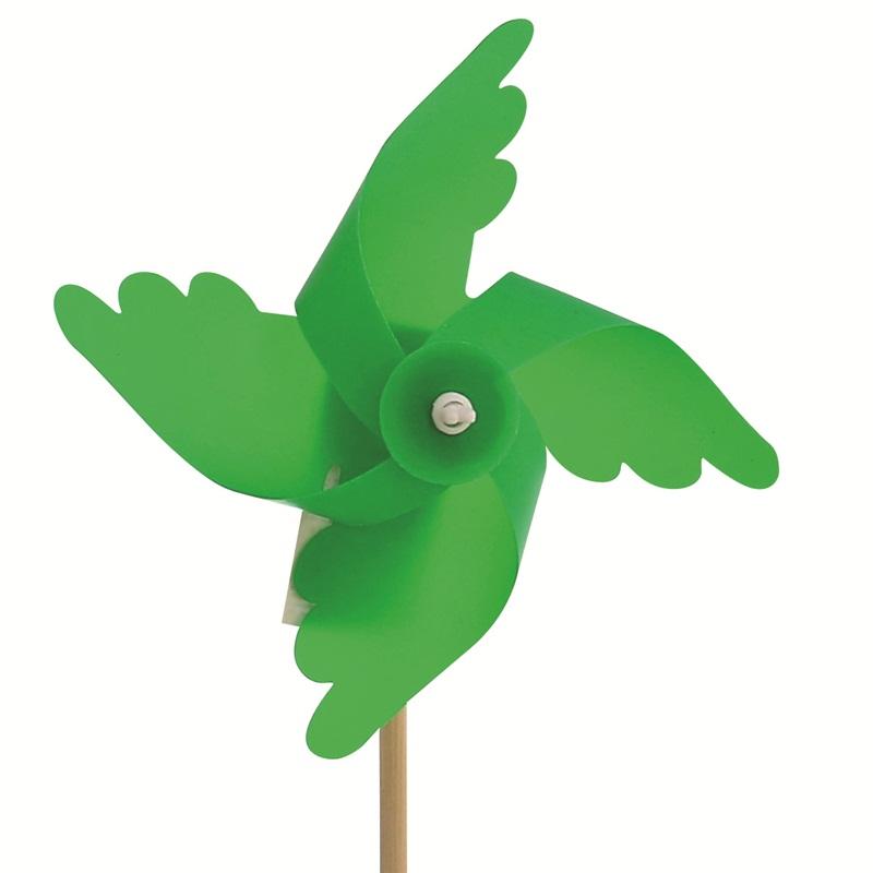 Mini Ahşap Saplı Plastik Rüzgar Gülü