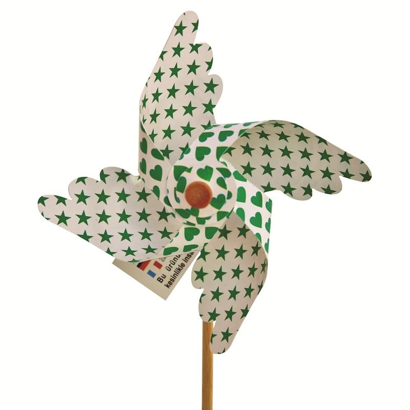 Mini Ahşap Saplı Rüzgar Gülü