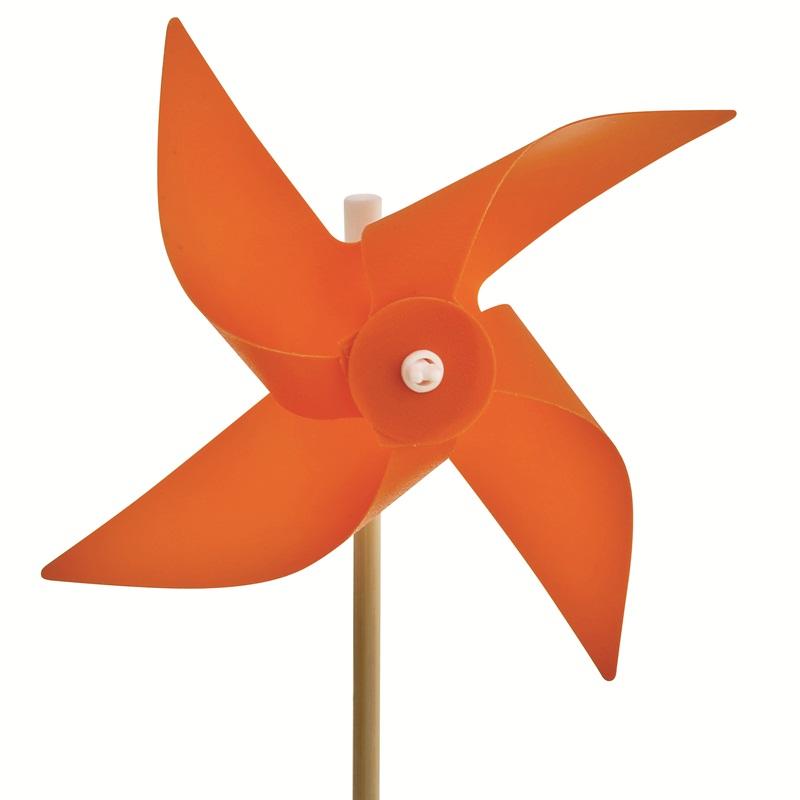 Mini Ahşap Saplı Plastik Rüzgar Gülü 10 CM ÇAP